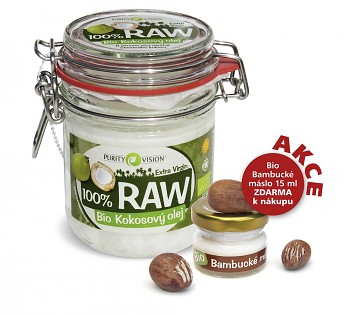 PURITY VISION RAW kokosový olej BIO 300ml plus 15 ml bambucké máslo zdarma