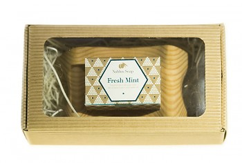 NABLUS olivové mýdlo Osvěžující máta s dřevěnou mýdlenkou