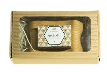 NABLUS olivové mýdlo s Bahnem z mrtvého moře s dřevěnou mýdlenkou