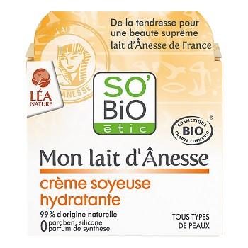 SO´BIO Krém hedvábný hydratační s obsahem oslího mléka 50ml